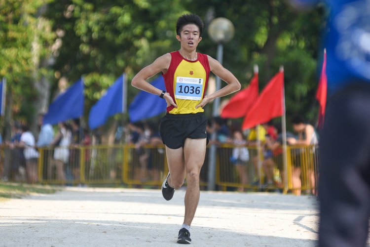 HCI's Ethan Yan (#1036), the track 5000m champion, finished first in the Boys' A Division cross country race with a time of 15:59.1, leading a 1-2-3 finish for HCI. It is his first ever National Schools cross country individual title. (Photo 1 © Iman Hashim/Red Sports)