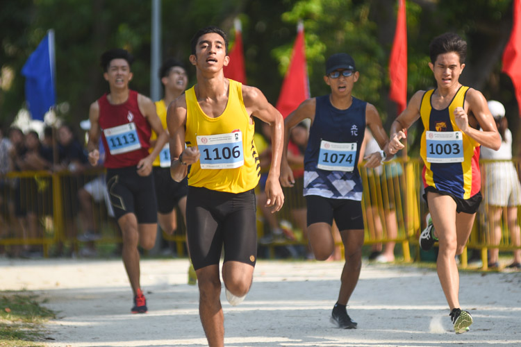 VJC's Aravinthan Ilango (#1106) finished 15th in the Boys' A Division cross country race with a time of 17:22.2. (Photo 1 © Iman Hashim/Red Sports)