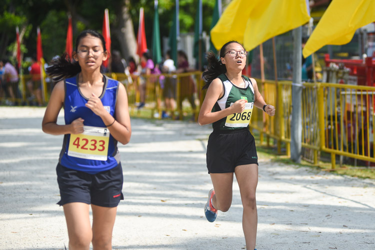 RI's Xu Ziqian (#2068) finished eighth in the Girls' A Division cross country race with a time of 16:52.4. (Photo 1 © Iman Hashim/Red Sports)