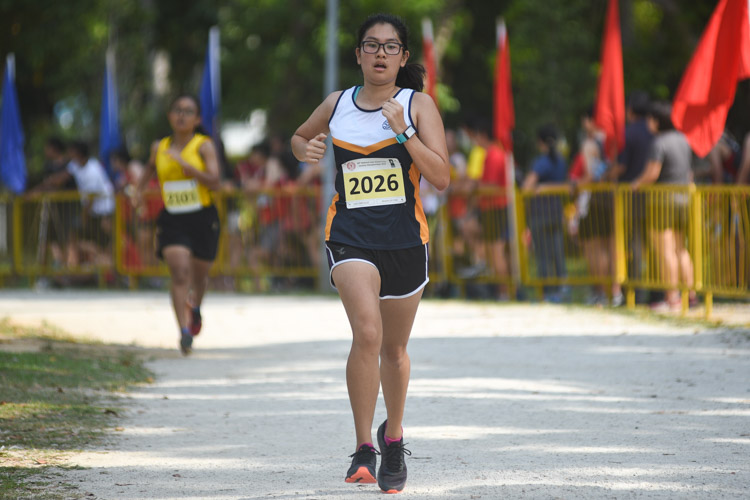 EJC's Meagan Goh (#2026) finished 21st in the Girls' A Division cross country race with a time of 18:02.9. (Photo 1 © Iman Hashim/Red Sports)