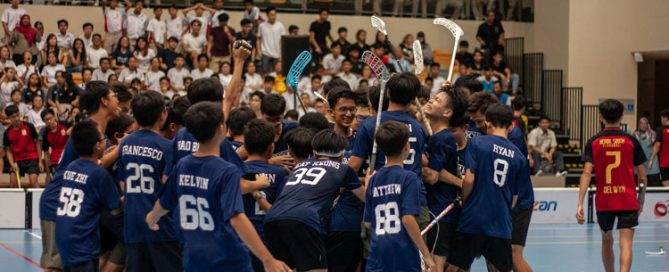 Catholic High players rushing onto the area to celebrate as a team after beating Bedok South 2-1. (Photo 1 © REDintern Jordan Lim)
