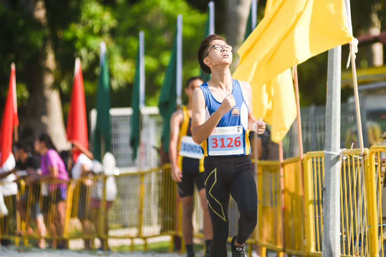 Guangyang Secondary's Goh Zhi Peng (#3126) finished 12th in the Boys' B Division cross country race with a time of 17:50.0. (Photo 1 © Iman Hashim/Red Sports)