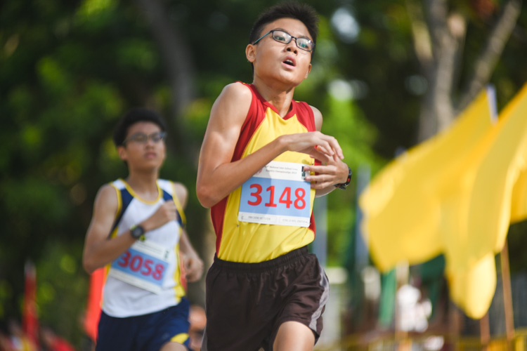 HCI's Jonathan Yeong (#3148) finished 15th in the Boys' B Division cross country race with a time of 17:55.6. (Photo 1 © Iman Hashim/Red Sports)