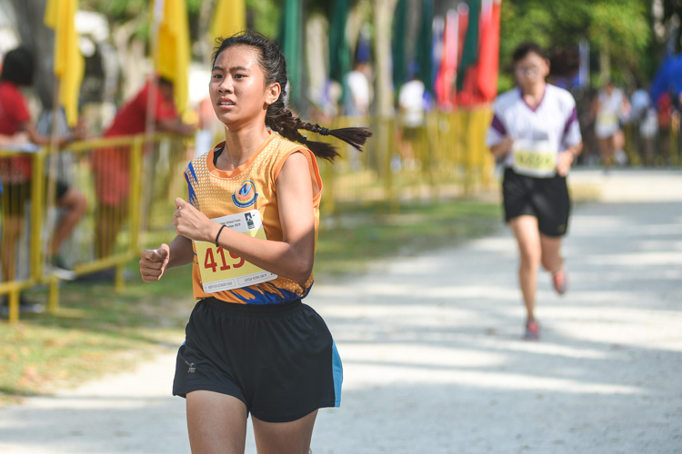 North Vista Secondary's Alyssa Leong finished second in the Girls' B Division cross country race with a time of 16:05.3. (Photo 1 © Iman Hashim/Red Sports)