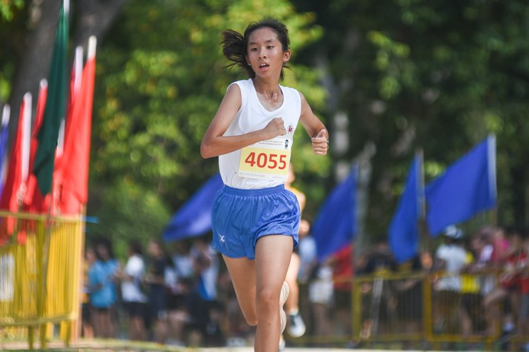 CHIJ St. Nicholas' Girls' Alexis So finished fifth in the Girls' B Division cross country race with a time of 16:26.3. (Photo 1 © Iman Hashim/Red Sports)