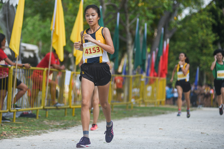 Katelyn Tan (#4153) finished 10th in the Girls' B Division cross country race with a time of 16:39.5 to help MGS clinch the team title. (Photo 1 © Iman Hashim/Red Sports)
