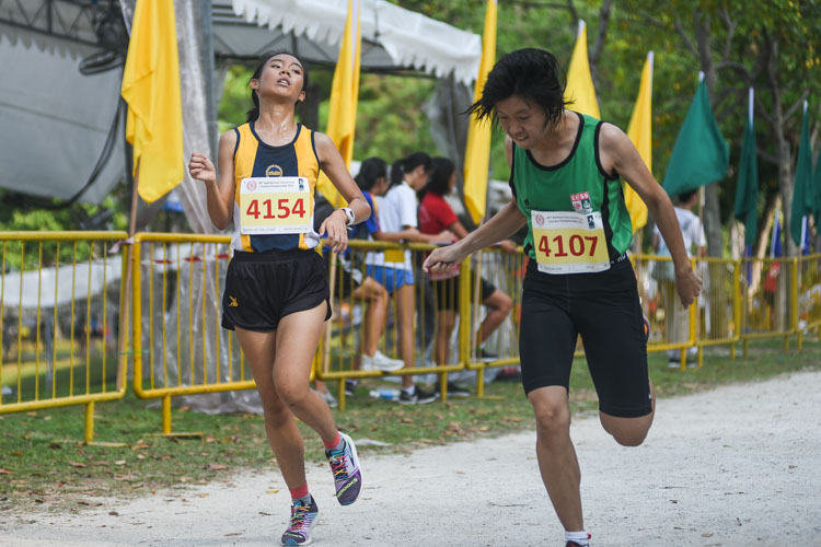 Charlene Goh (#4154) finished 12th in the Girls' B Division cross country race with a time of 16:42.1 to help MGS clinch the team title. (Photo 1 © Iman Hashim/Red Sports)