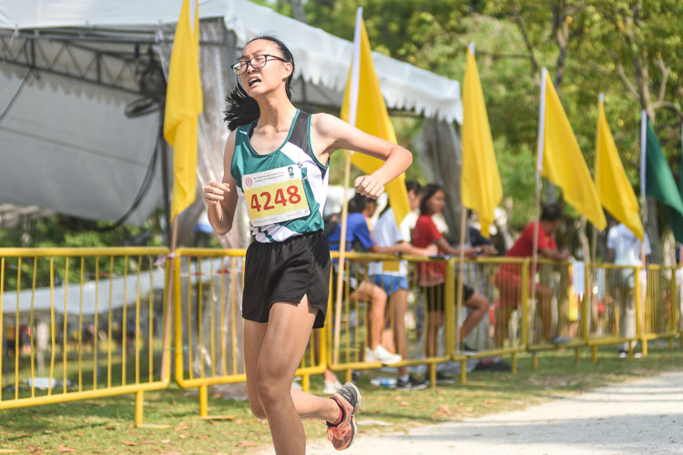 Chloe Guo (#4248) of RGS finished 20th in the Girls' B Division cross country race with a time of 17:11.4. (Photo 1 © Iman Hashim/Red Sports)