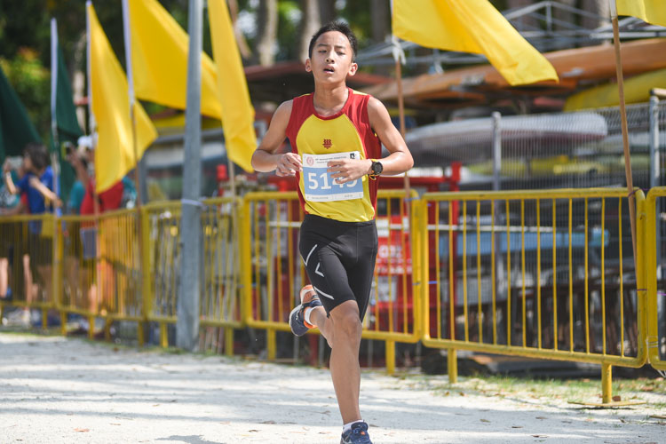 HCI's Jacob Tan, the recent track 3000m champion, finished third in the Boys' C Division cross country race with a time of 13:51.4. (Photo 1 © Iman Hashim/Red Sports)