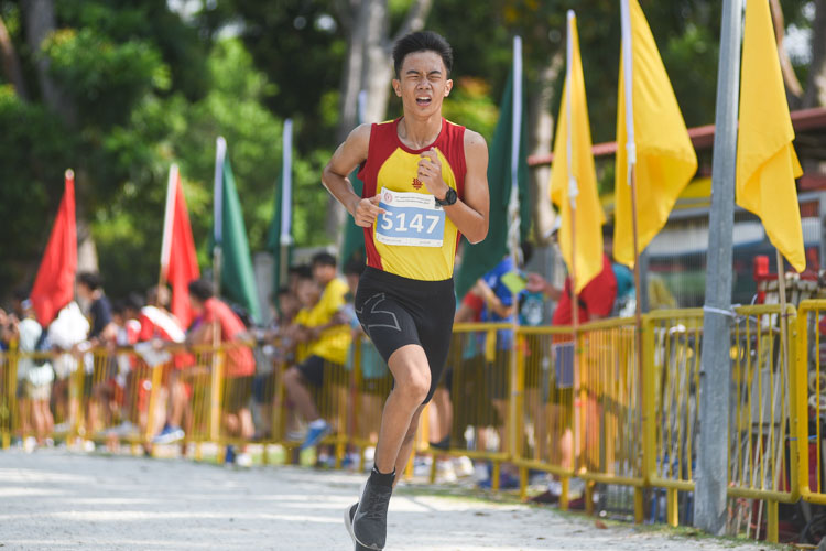 HCI's Dai Hexuan finished sixth in the Boys' C Division cross country race with a time of 14:03.2. (Photo 1 © Iman Hashim/Red Sports)