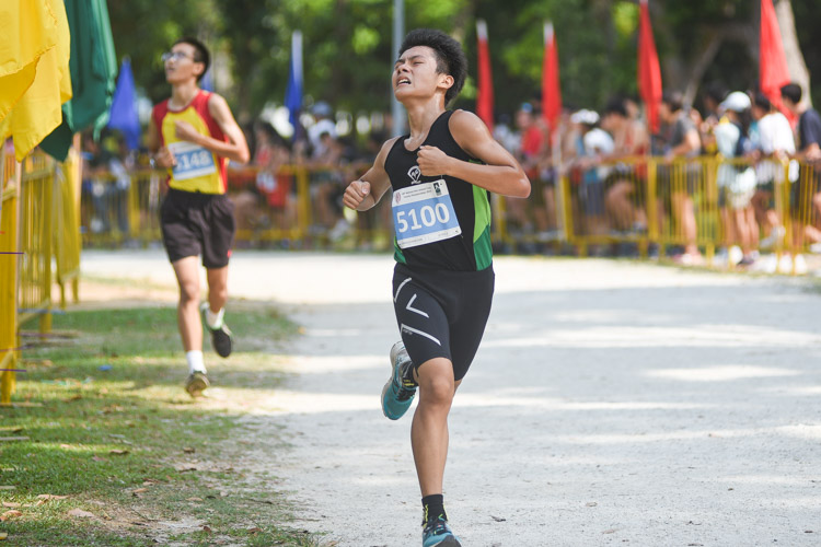 Evergreen Secondary's Lee Wen Jie (#5100) finished ninth in the Boys' C Division cross country race with a time of 14:14.7. (Photo 1 © Iman Hashim/Red Sports)