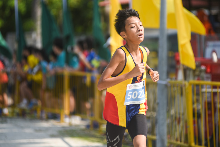 ACS(I)'s Bryan Cheung finished 15th in the Boys' C Division cross country race with a time of 14:38.2. (Photo 1 © Iman Hashim/Red Sports)