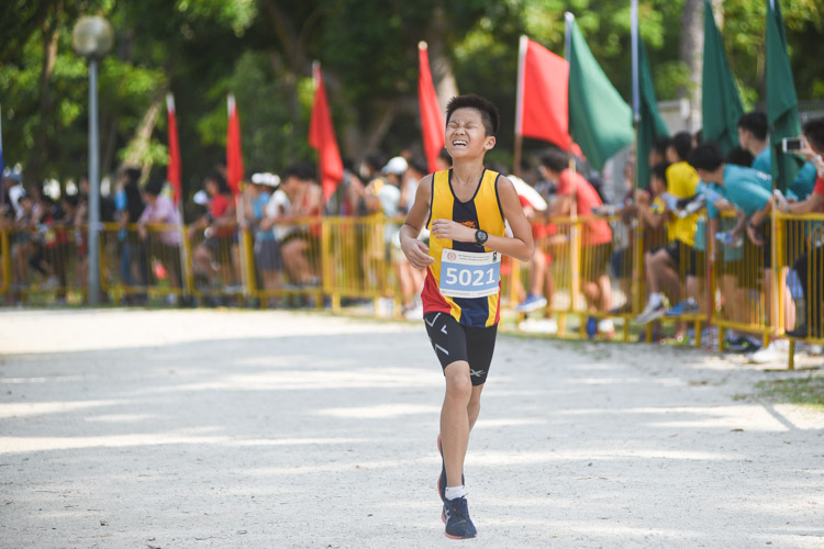 ACS(I)'s James Chin finished 16th in the Boys' C Division cross country race with a time of 14:45.1. (Photo 1 © Iman Hashim/Red Sports)