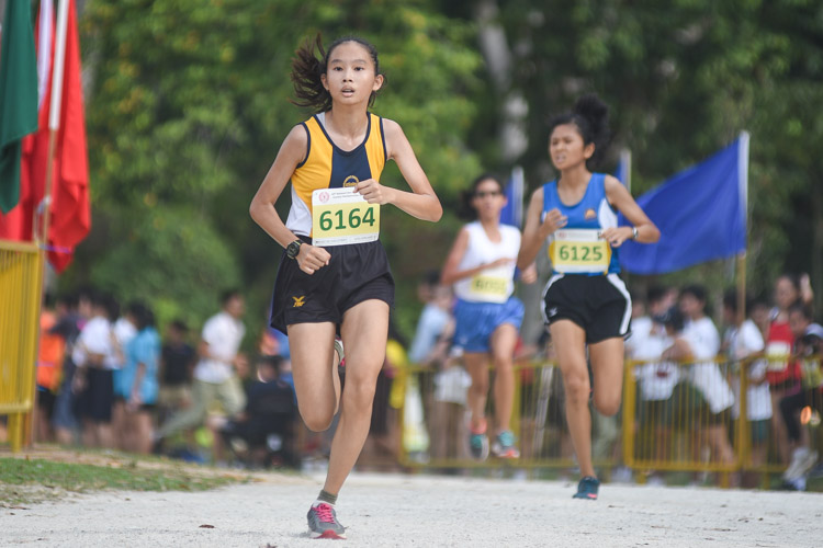 Alyssa Lauren Xavier (#6164) of MGS finished second in the Girls' C Division cross country race with a time of 16:30.6, helping her school clinch the team title. (Photo 1 © Iman Hashim/Red Sports)