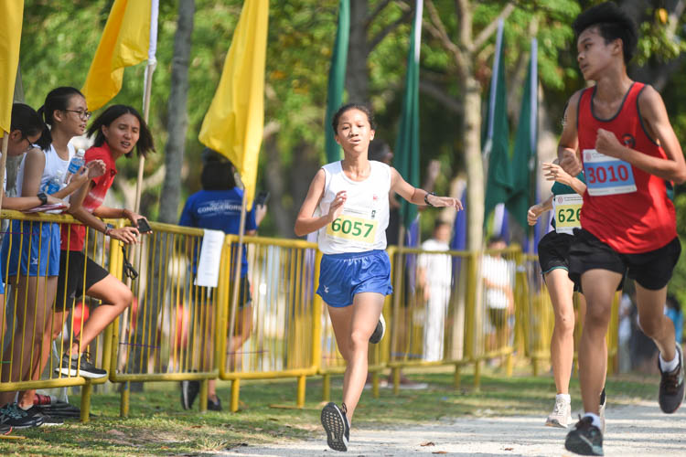 CHIJ St. Nicholas Girls' Natalie Tan (#6057) finished seventh in the Girls' C Division cross country race with a time of 17:20.5. (Photo 1 © Iman Hashim/Red Sports)