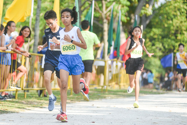 CHIJ St. Nicholas Girls' Annalisa Goh (#6126) finished 13th in the Girls' C Division cross country race with a time of 17:32.3. (Photo 1 © Iman Hashim/Red Sports)
