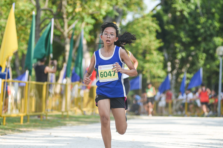CHIJ (Toa Payoh)'s Tan Kit Kaye finished 17th in the Girls' C Division cross country race with a time of 17:41.8. (Photo 1 © Iman Hashim/Red Sports)