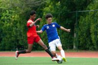 A midfield battle takes place as both teams vie for the ball. (Photo 1 © REDintern Jordan Lim)