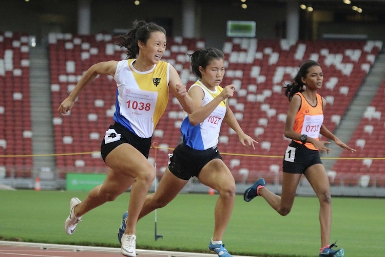Elizabeth-Ann Tan of Nanyang Girls' set a new record for the B division girls 100m sprint. The new record now is 12.25s.