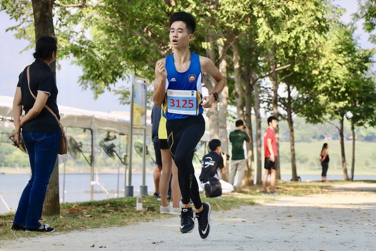 Abroysius Ng finished second in the Boys' B Division cross country race with a time of 16:56.