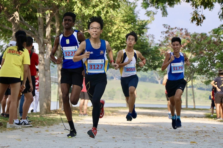 Competitors in the Boys' B Division cross country race. (Photo 1 © Julianna Jothi/Red Sports)