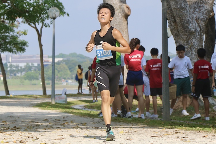 Evergreen Secondary's Lee Wen Jie (#5100) finished ninth in the Boys' C Division cross country race with a time of 14:14.7. (Photo 1 © Julianna Jothi/Red Sports)