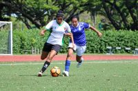 Milanpreet Kaur Bajwa (RJ #13) dribbles the ball under pressure from Prathiksha Karthikeyan (SJI #42). (Photo 1 © Clara Lau/REDintern)