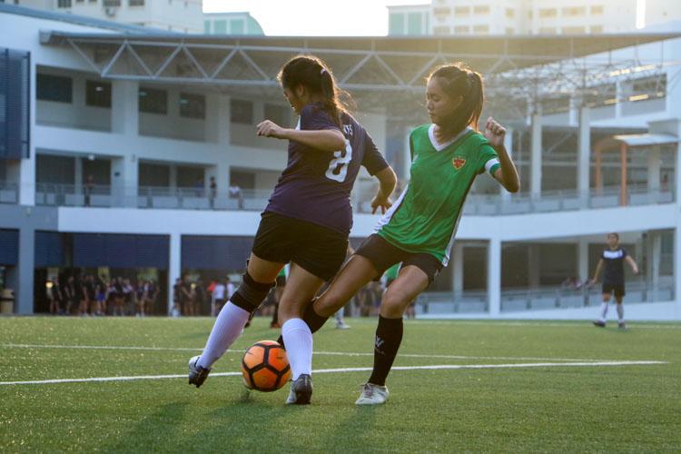 SAJC beat RI 2-1 to earn spot in National Schools A Division Girls' Football Championship final. (Photo 10 © Clara Lau/REDintern)