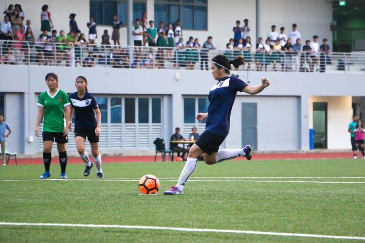Agatha Putri Widjaya (SAJC #6) scores from a penalty kick to double SAJC's lead. (Photo 4 © Clara Lau/REDintern)