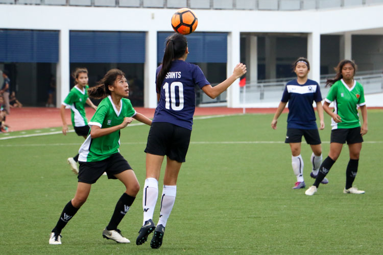SAJC beat RI 2-1 to earn spot in National Schools A Division Girls' Football Championship final. (Photo 7 © Clara Lau/REDintern)