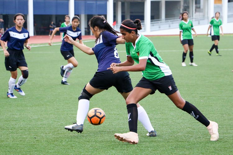 SAJC beat RI 2-1 to earn spot in National Schools A Division Girls' Football Championship final. (Photo 8 © Clara Lau/REDintern)