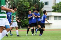 JPJC players celebrating scoring the opening goal of the game. (Photo 1 © Clara Lau/REDintern)
