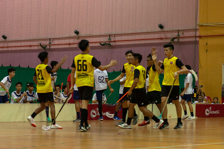 VJC players celebrating after scoring their third goal in the opening 10 minutes. (Photo 6 © REDintern Jordan Lim)