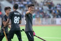 Haikel Yasin (#66) of RI poses after scoring Raffles' 4th goal of the match.