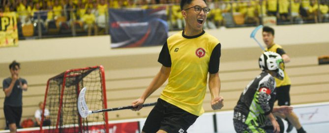 Fares Aqil (VJC #65) celebrates after scoring his team's second goal just two minutes into the game. VJC beat defending champions RI in a 6-4 thriller to book a spot in their second final in three years. (Photo 1 © Iman Hashim/Red Sports)