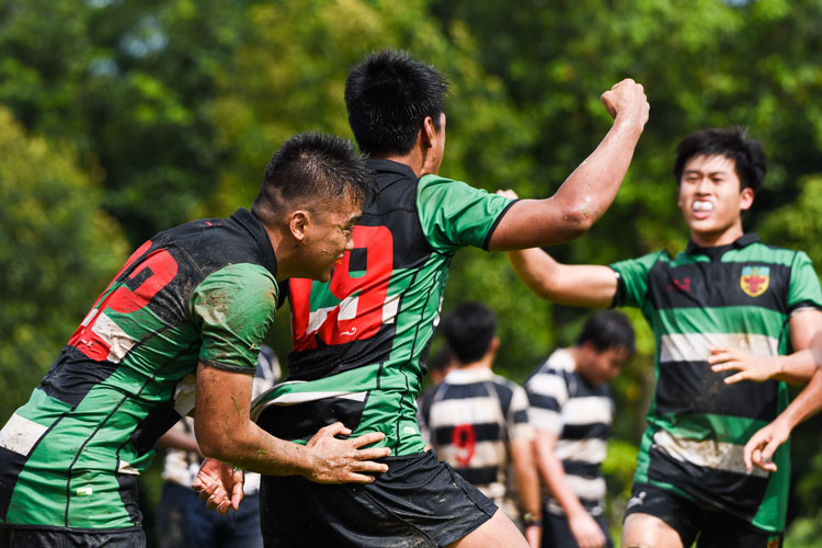 Raffles celebrate their first try scored by Gideon Kee (RI #19). (Photo 1 © Iman Hashim/Red Sports)