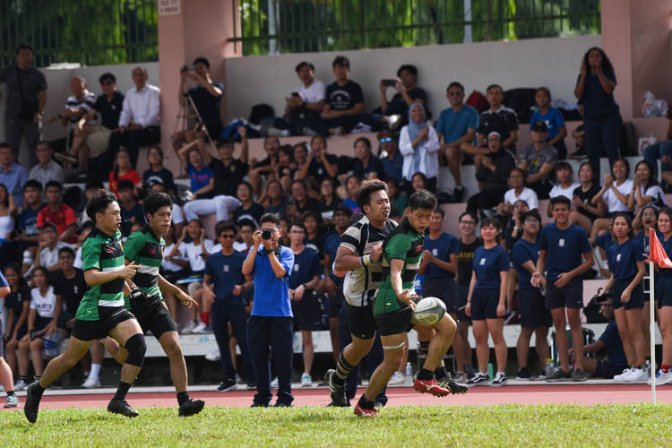 Raffles Institution (RI) survived a late gutsy fightback from St. Andrew's Junior College (SAJC) to edge past their traditional rivals 17-15 and book their place in the final of the National A Division Rugby Championship. (Photo 1 © Iman Hashim/Red Sports)