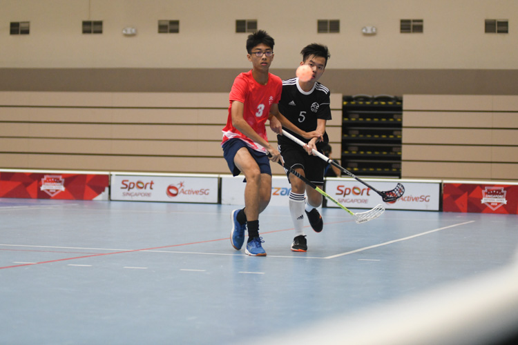 In a clash between two first-time semi-finalists of the National A Division Floorball Championship, dark horses Eunoia Junior College (EJC) came out tops with a convincing 6-1 victory over River Valley High School (RV). (Photo 1 © Stefanus Ian/Red Sports)