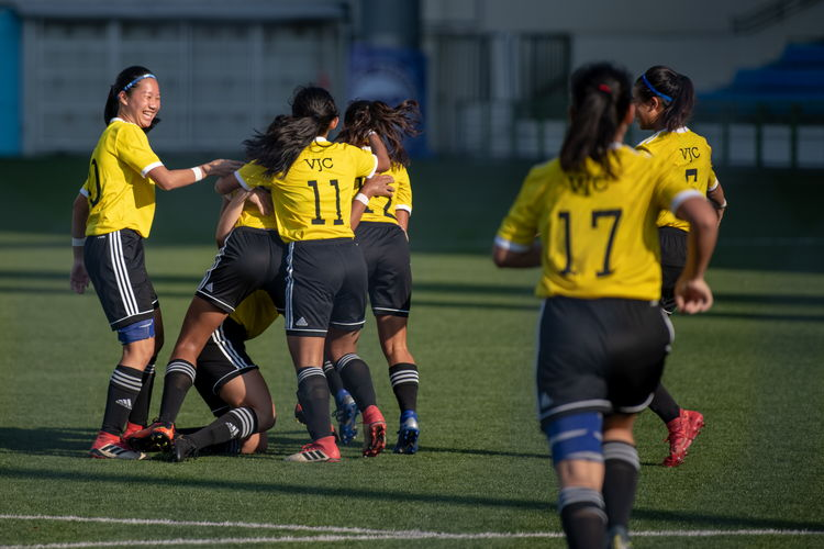 VJC players celebrate their first goal.