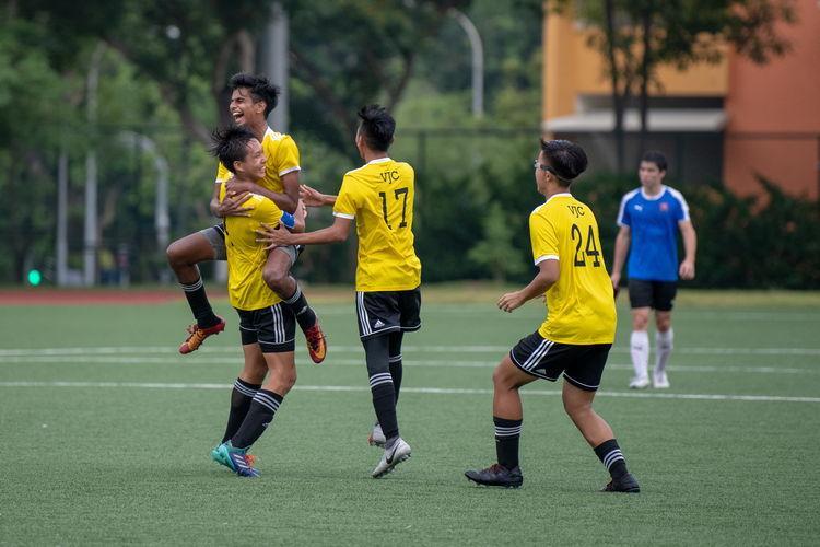 The VJC players joyfully celebrating their 4-0 victory over NYJC.