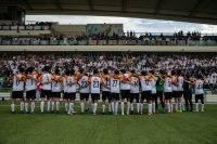 The SAJC teams gathers in front of the spectators and all those there to support them