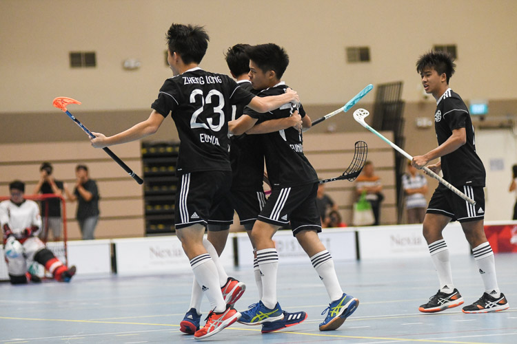 EJC celebrate their fourth goal scored by David Ethan Ng (#77). (Photo 1 © Iman Hashim/Red Sports)