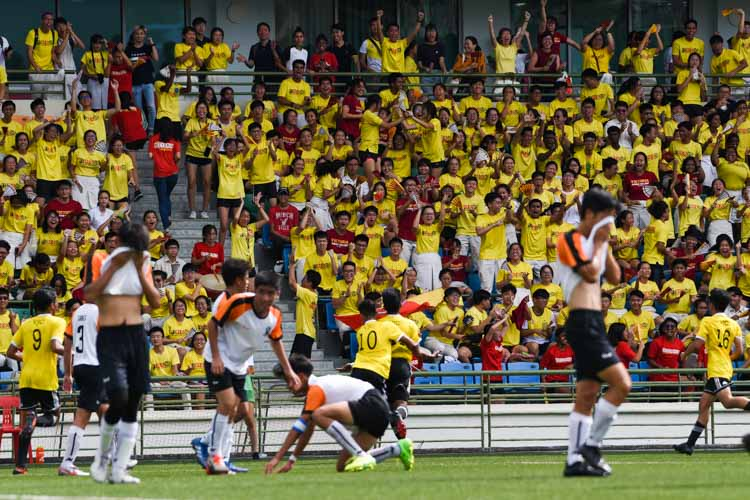 The VJC crowd cheering after their team's equaliser. (Photo 1 © Iman Hashim/Red Sports)