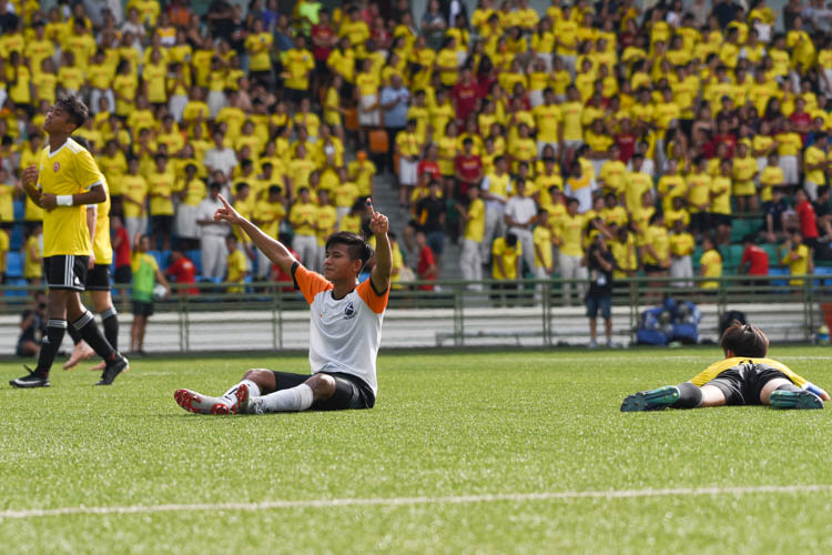 Ahmad Yusuf (SAJC #9) raises both hands in celebration after putting SAJC 4-1 up. (Photo 1 © Iman Hashim/Red Sports)