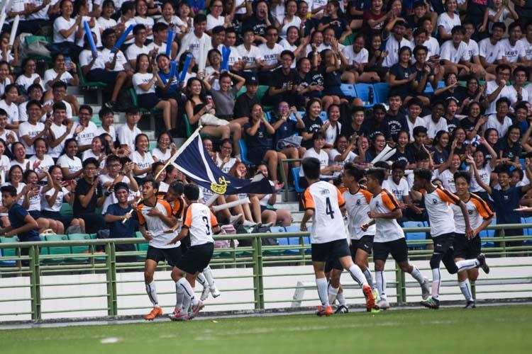 SAJC celebrate their opening goal scored by Naden Joshua (#10). (Photo 40 © Iman Hashim/Red Sports)