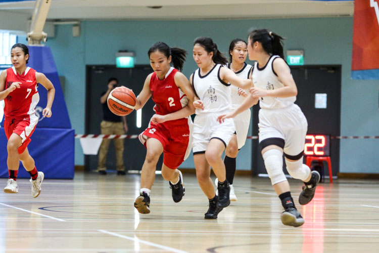 Rachel Tan (NJC #2) brings the ball out from defence and surges down the court. (Photo 3 © Clara Lau/Red Sports)