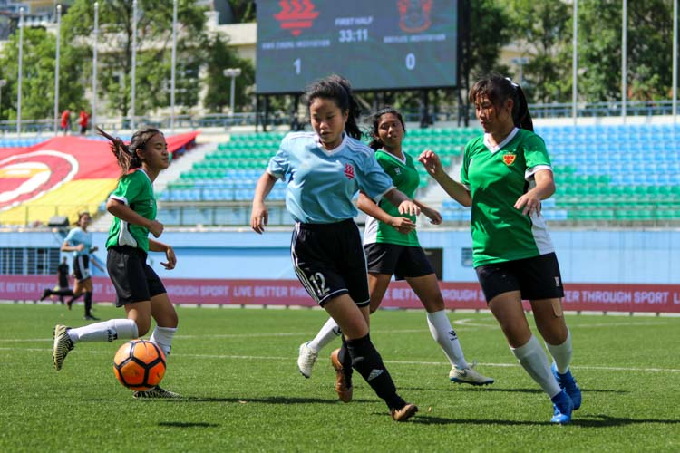 A first half goal by HCI was enough to help them claim a 1-0 win over RI and secure the National Schools A Division Girls' Football Championship bronze medal. (Photo 15 © Clara Lau/REDintern)