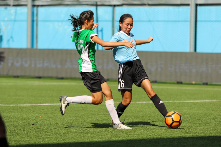 A first half goal by HCI was enough to help them claim a 1-0 win over RI and secure the National Schools A Division Girls' Football Championship bronze medal. (Photo 16 © Clara Lau/REDintern)