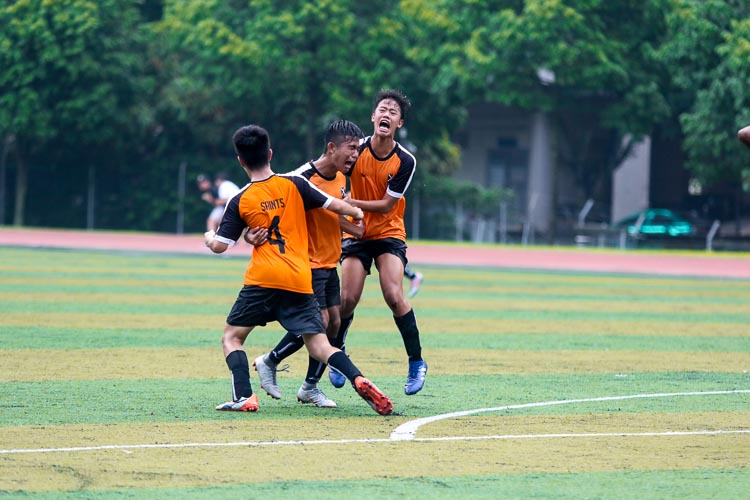 Ahmad Yusuf (SAJC #9) reacts in ecstasy after scoring the equaliser for SAJC. (Photo 7 © Clara Lau/REDintern)