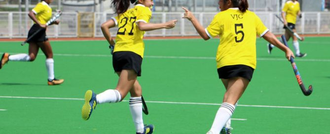 VJC celebrating the first goal of the game scored by Chow Xin Tian (#5). (Photo 2 © Clara Lau/REDintern)